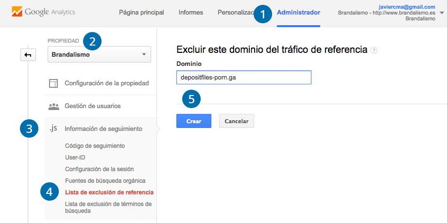 Excluir Referencias en Google Analytics